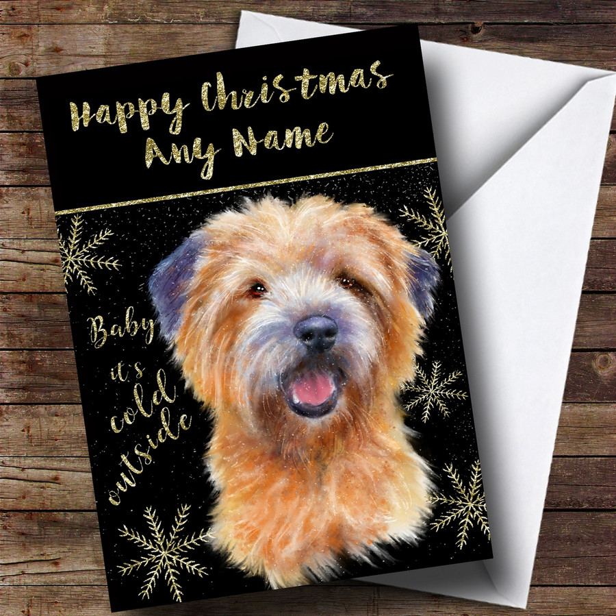 Cold Outside Snow Dog Cairn Terrier Customised Christmas Card