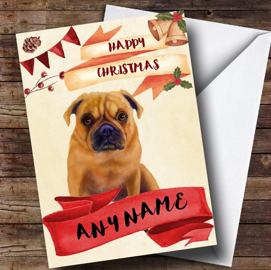 Watercolour Rustic Dog Pug Customised Christmas Card