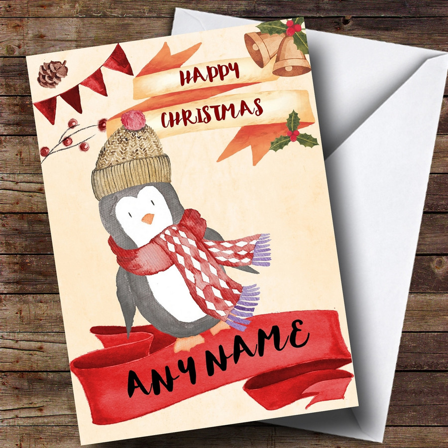 Watercolour Rustic Penguin Customised Christmas Card