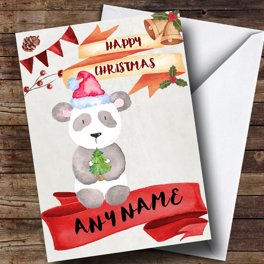 Watercolour Rustic Panda Customised Christmas Card