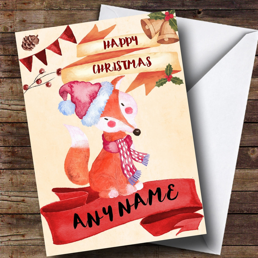 Watercolour Rustic Fox Customised Christmas Card