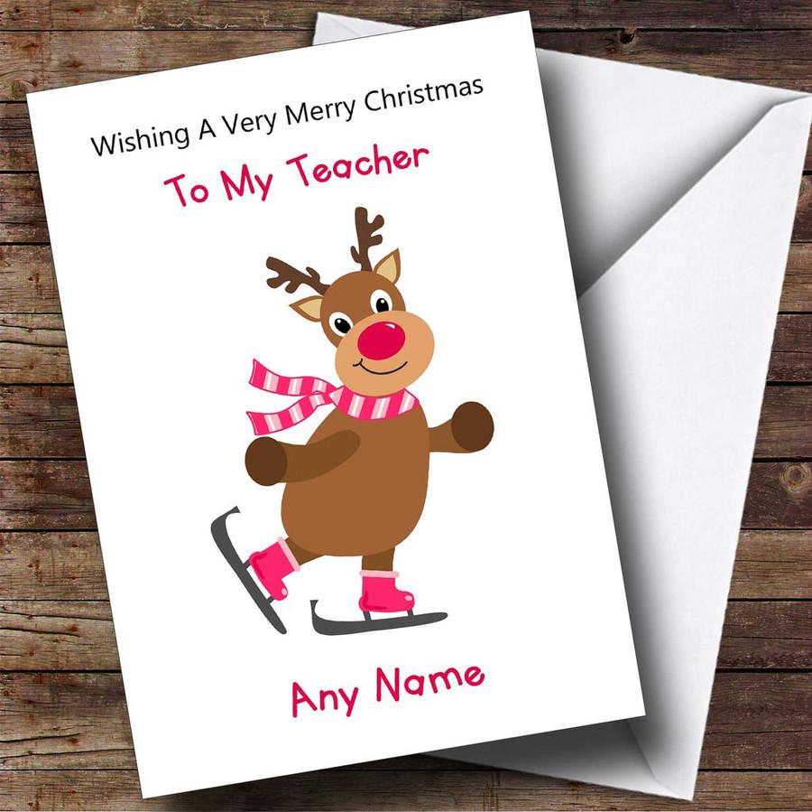 Teacher Cartoon Reindeer Customised Christmas Card
