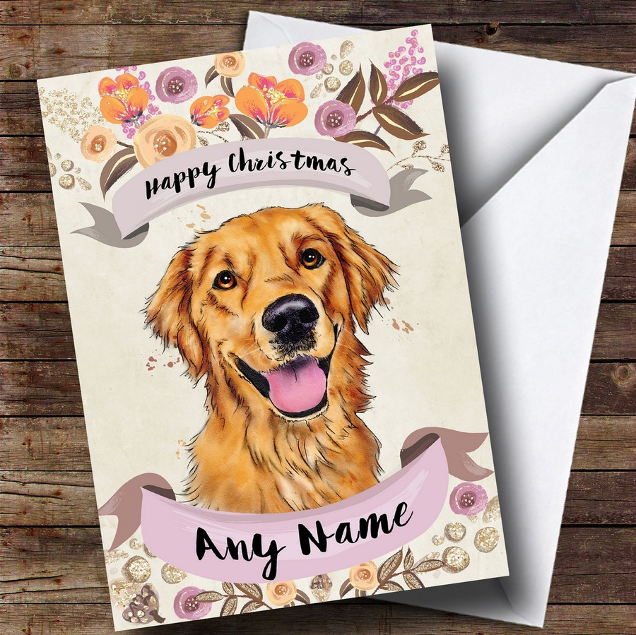 Rustic Gold Dog Golden Retriever Customised Cute Christmas Card