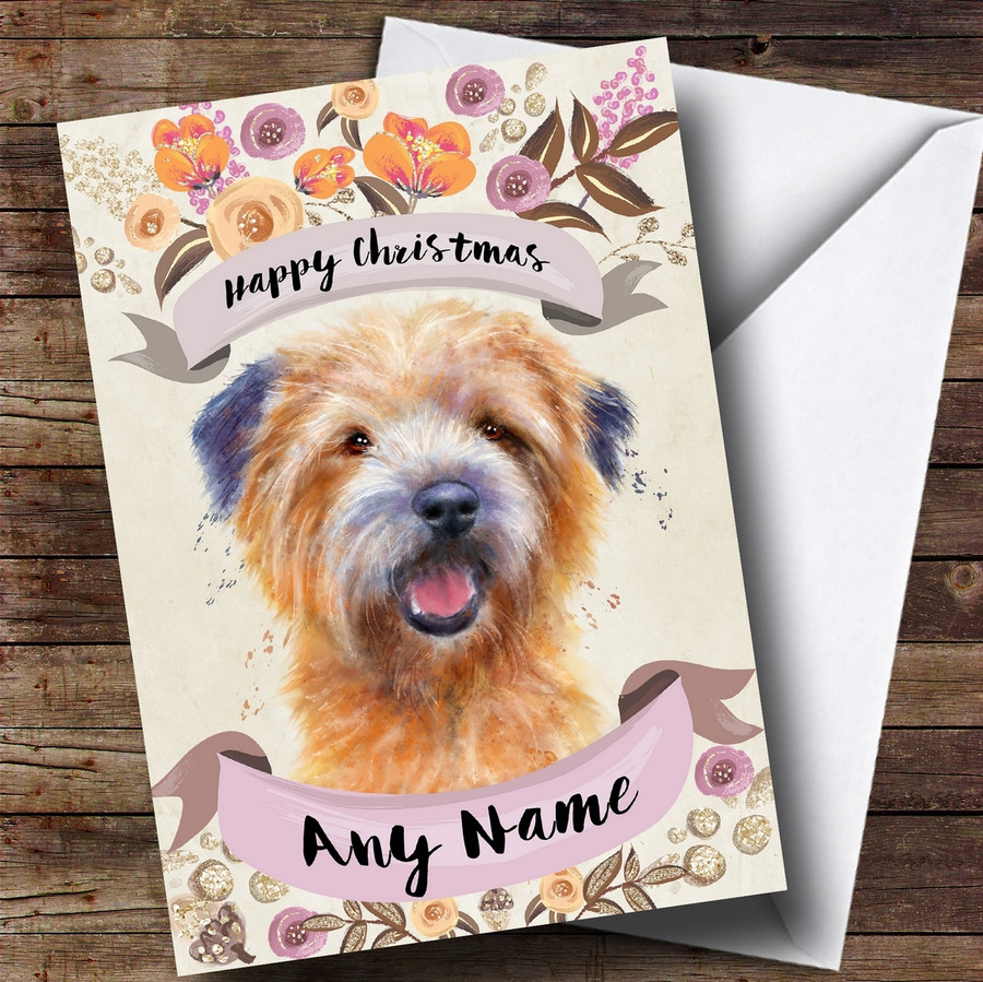 Rustic Gold Dog Cairn Terrier Customised Cute Christmas Card