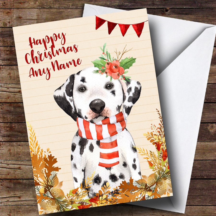 Gold Foliage Dalmatian Dog Customised Cute Christmas Card