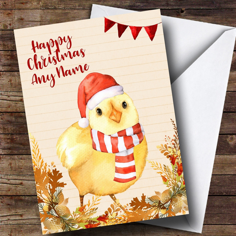 Gold Foliage Chick Customised Cute Christmas Card