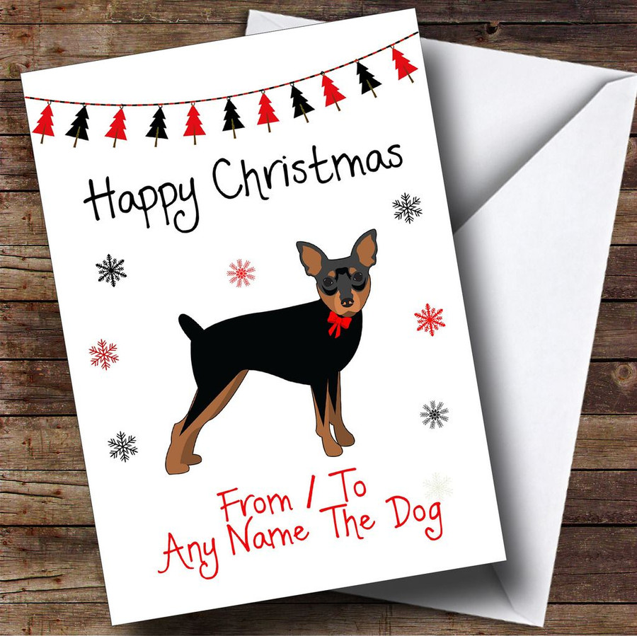 Miniature Pinscher From Or To The Dog Pet Customised Christmas Card