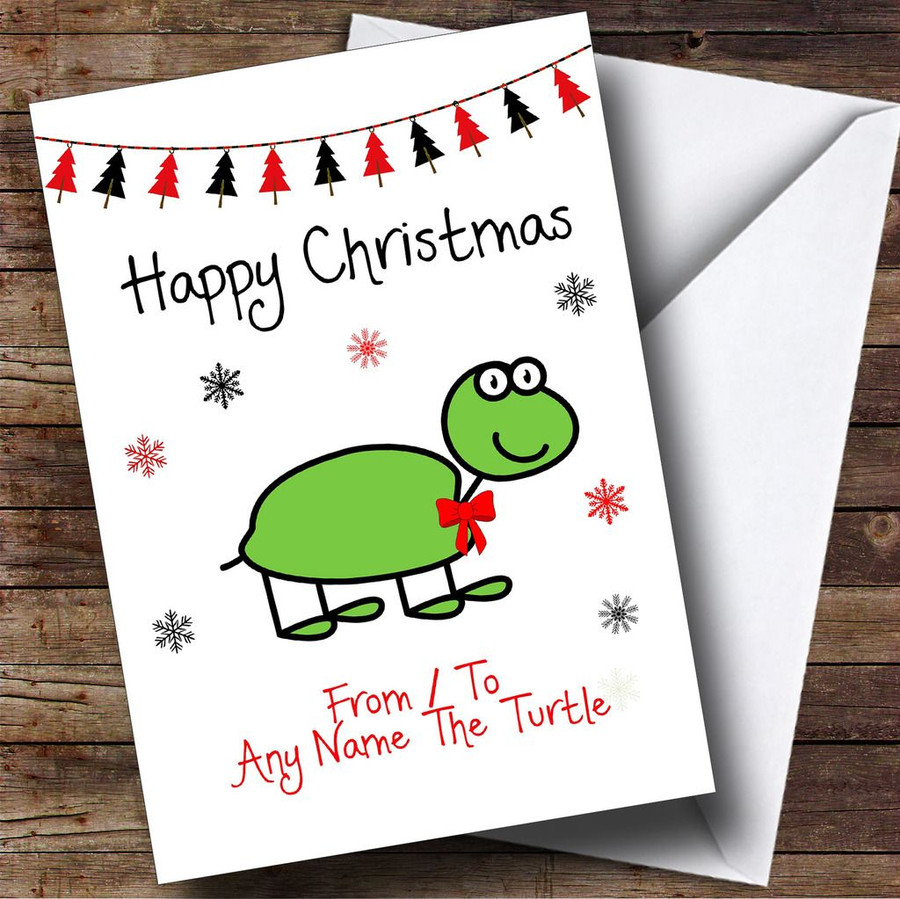 From Or To The Turtle Pet Customised Christmas Card