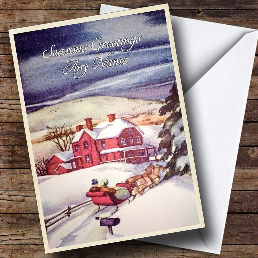 Snowy Night Vintage Traditional Customised Christmas Card