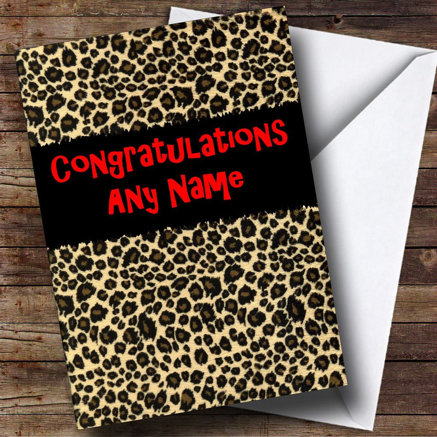 Leopard Print Customised Congratulations Card