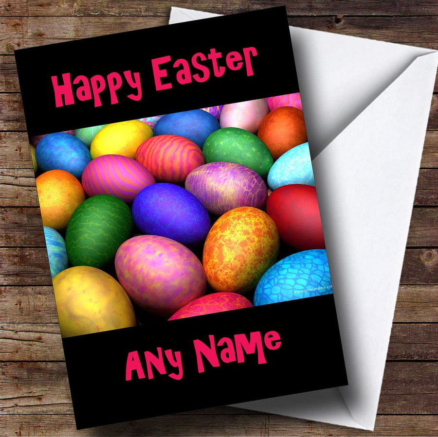 Bright Easter Eggs Customised Easter Card