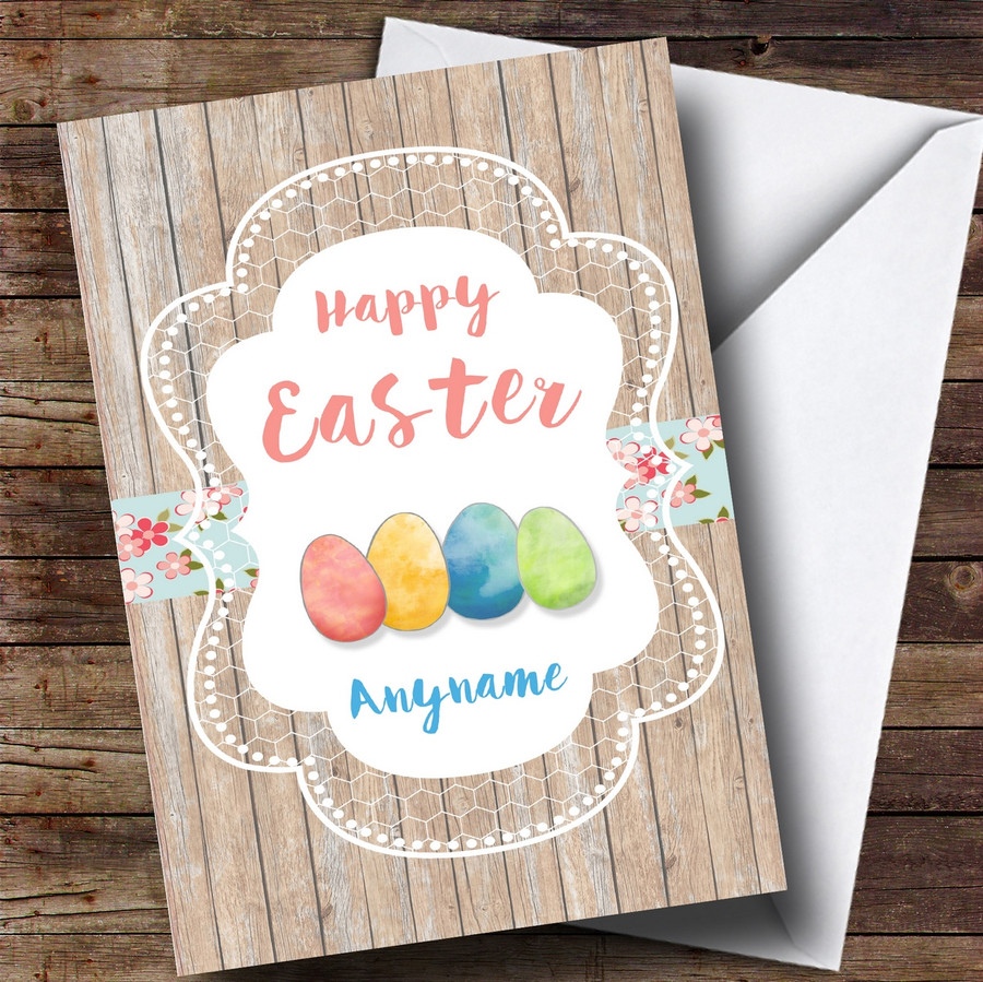 Customised Wood Eggs Easter Card