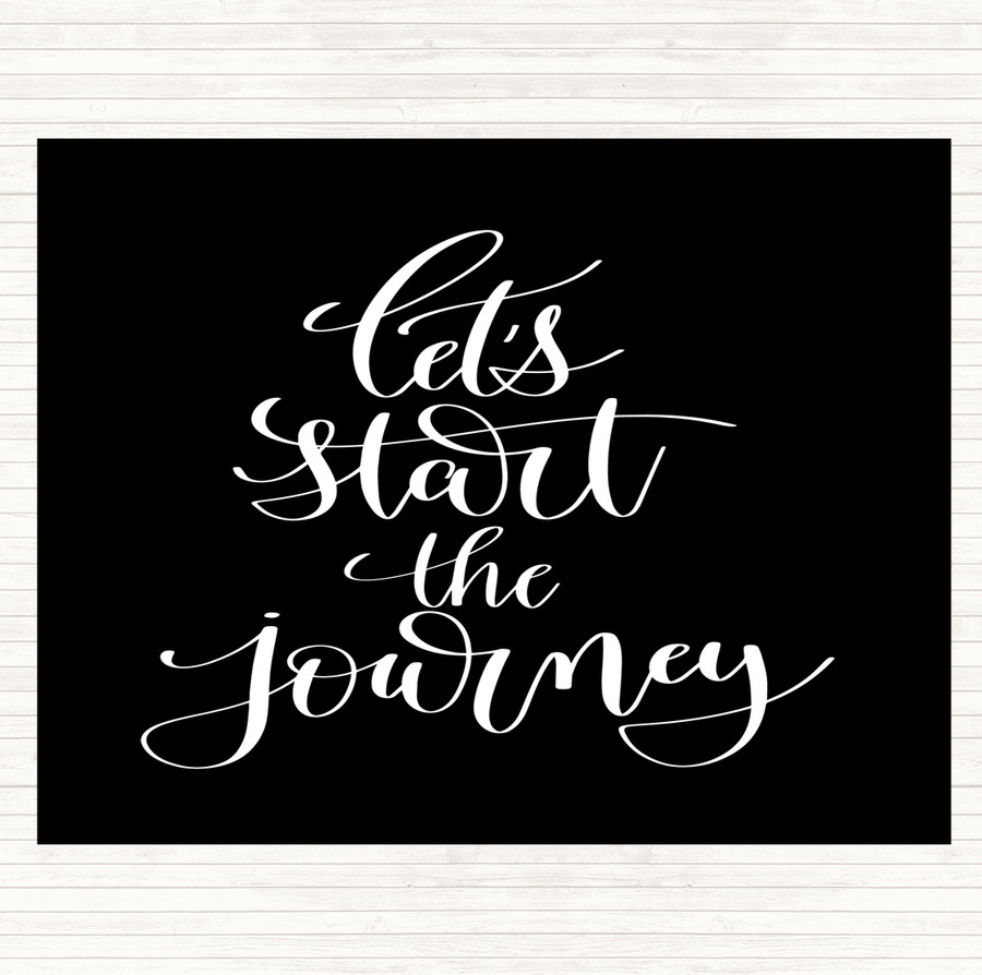 Black White Start The Journey Quote Mouse Mat