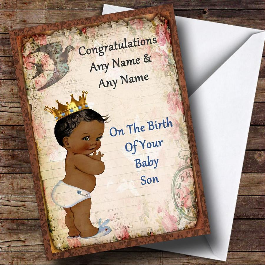 Vintage Black Baby Boy Customised New Baby Card