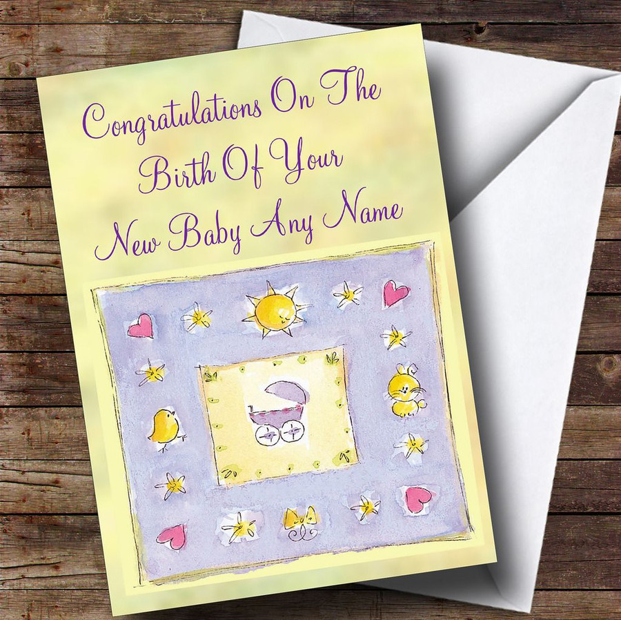Unisex Yellow Lilac Customised New Baby Card
