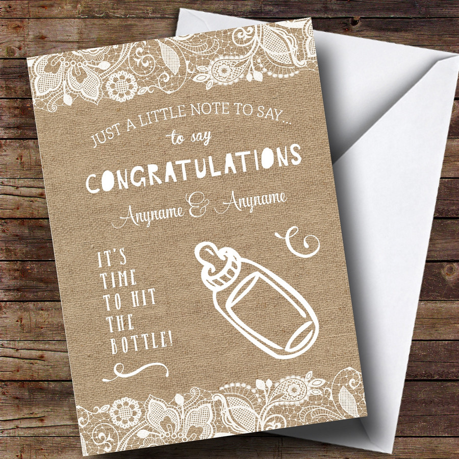 Customised Funny Hit The Bottle Burlap New Baby Card