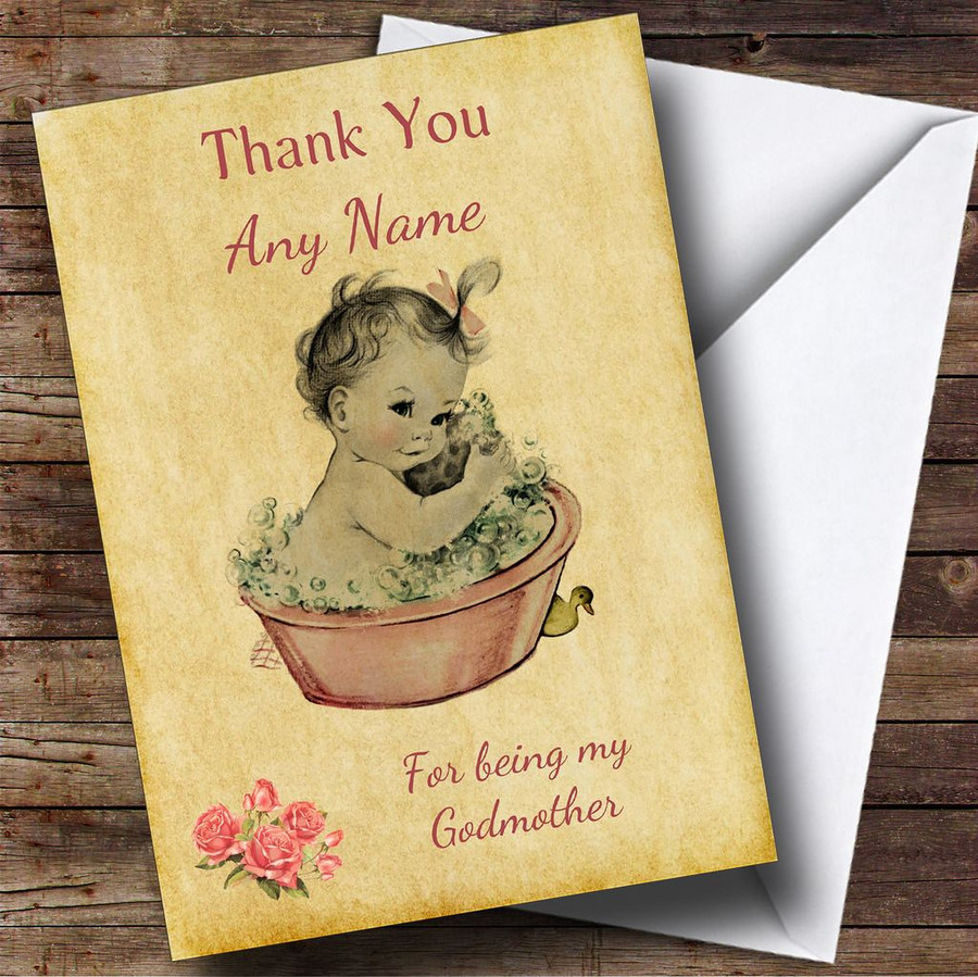 Pink Baby Girl Thank You For Being My Godmother Customised Sibling Card