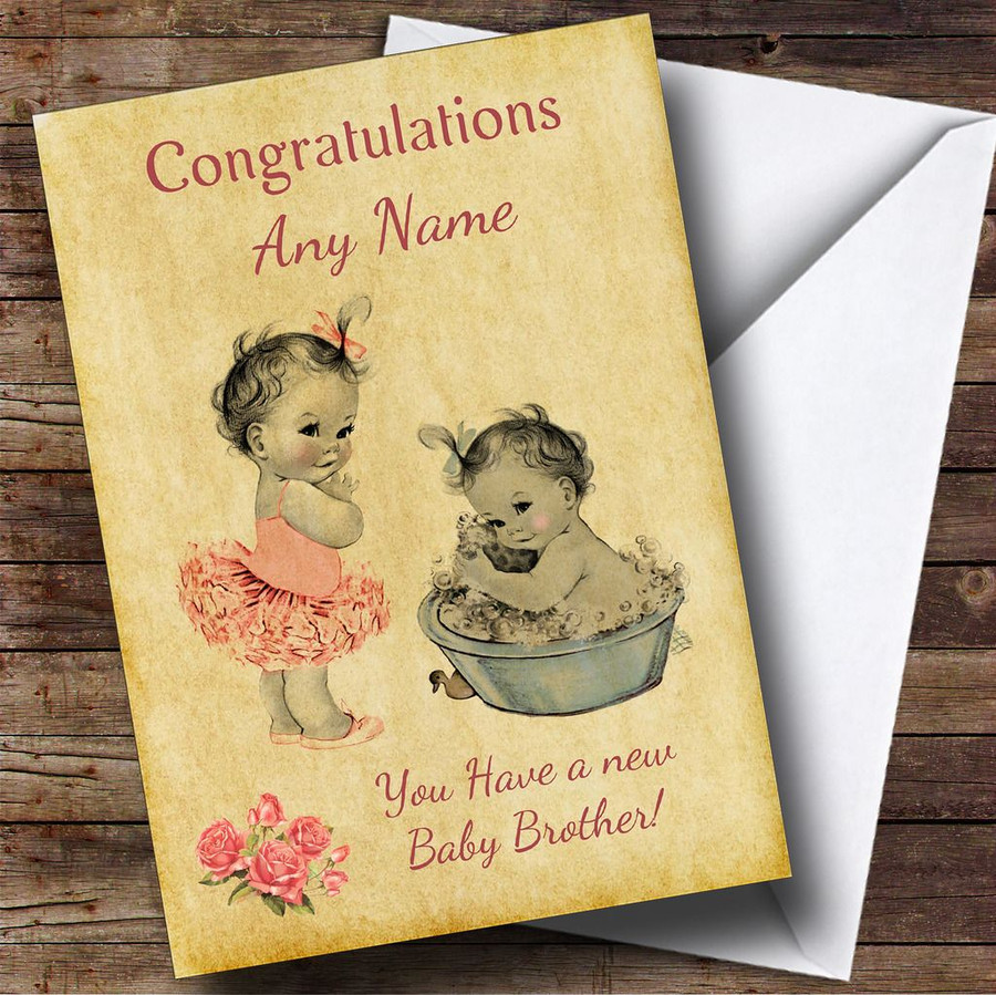 Pink Baby Boy Brother You're A Big Sister Customised Sibling Card
