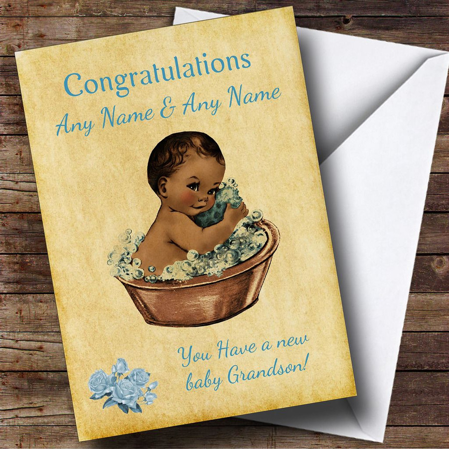 Pretty Vintage Blue Black Baby Boy Grandson Customised Sibling Card