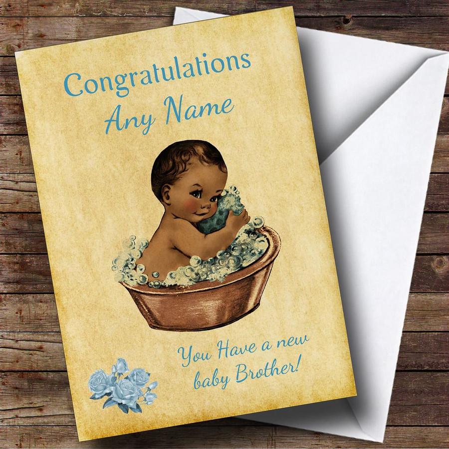Pretty Vintage Blue Black Baby Boy Brother Customised Sibling Card
