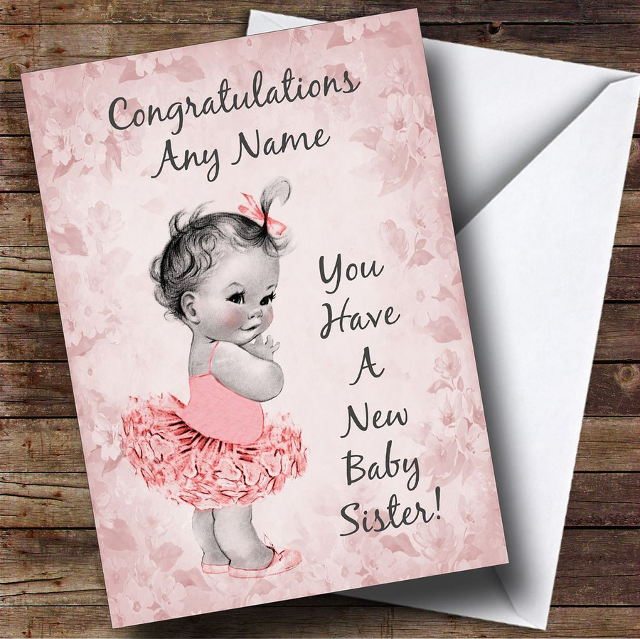 Pink Vintage Baby New Baby Sister Customised Sibling Card