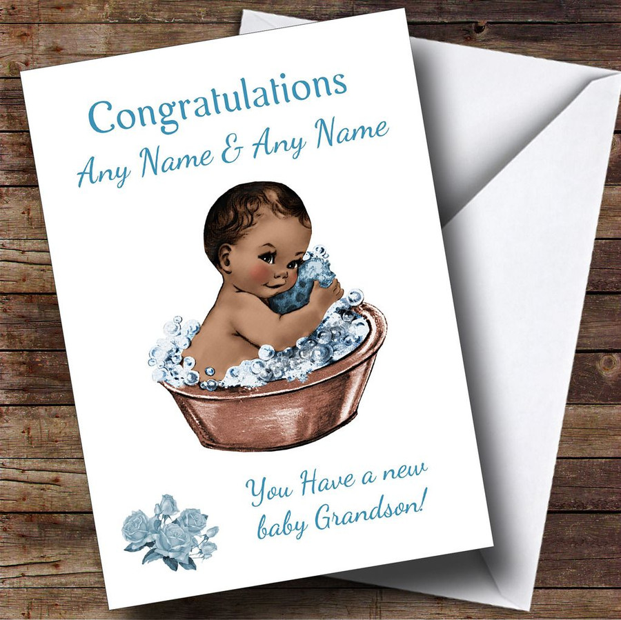 Cute Vintage Blue Black Baby Boy Grandson Customised Sibling Card