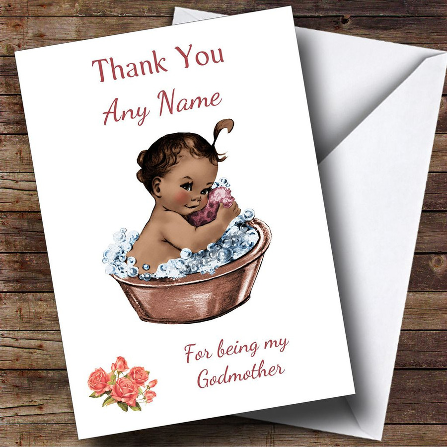 Black Baby Girl Thank You For Being My Godmother Customised Sibling Card