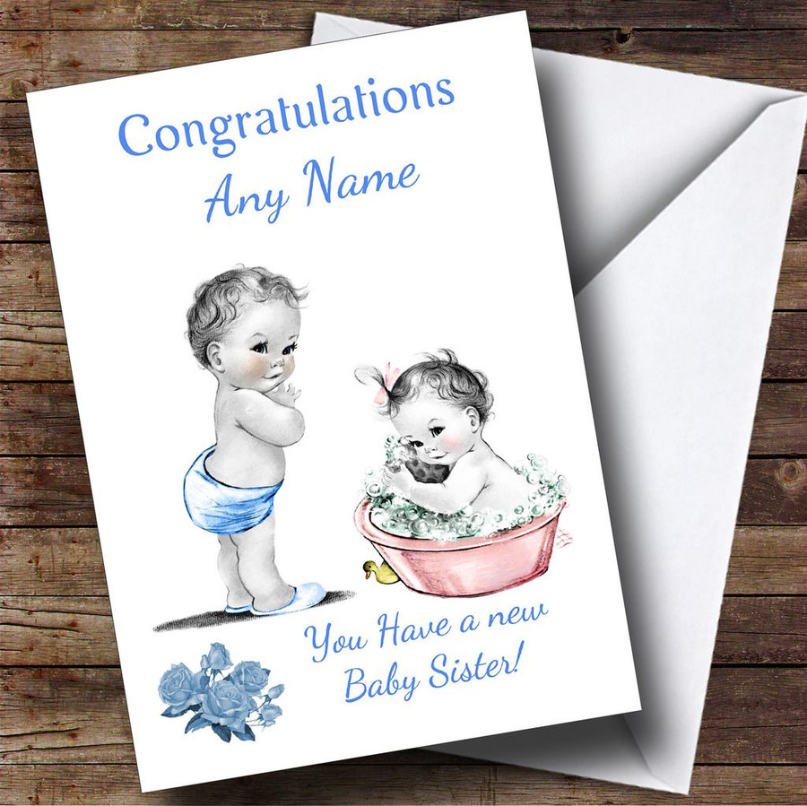 Cute Vintage Baby Girl Sister You're A Big Brother Customised Sibling Card