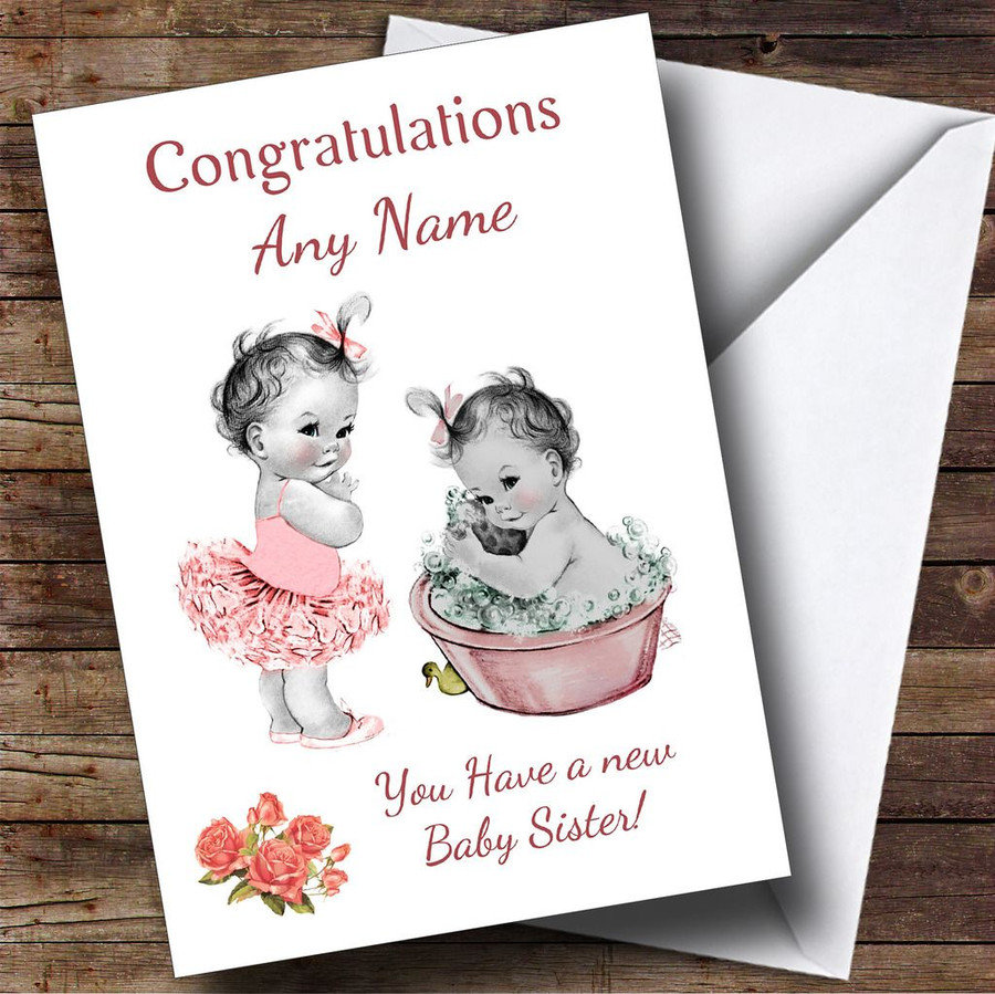 Cute Pink Baby Girl You're A Big Sister Customised Sibling Card