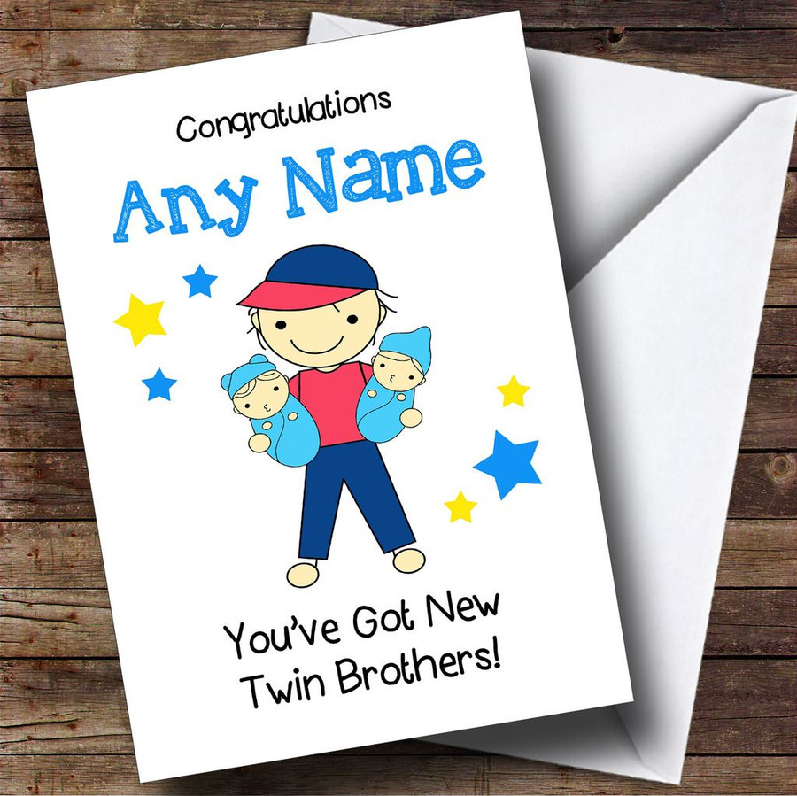 Big Brother New Baby Twin Brothers Boys Customised Sibling Card