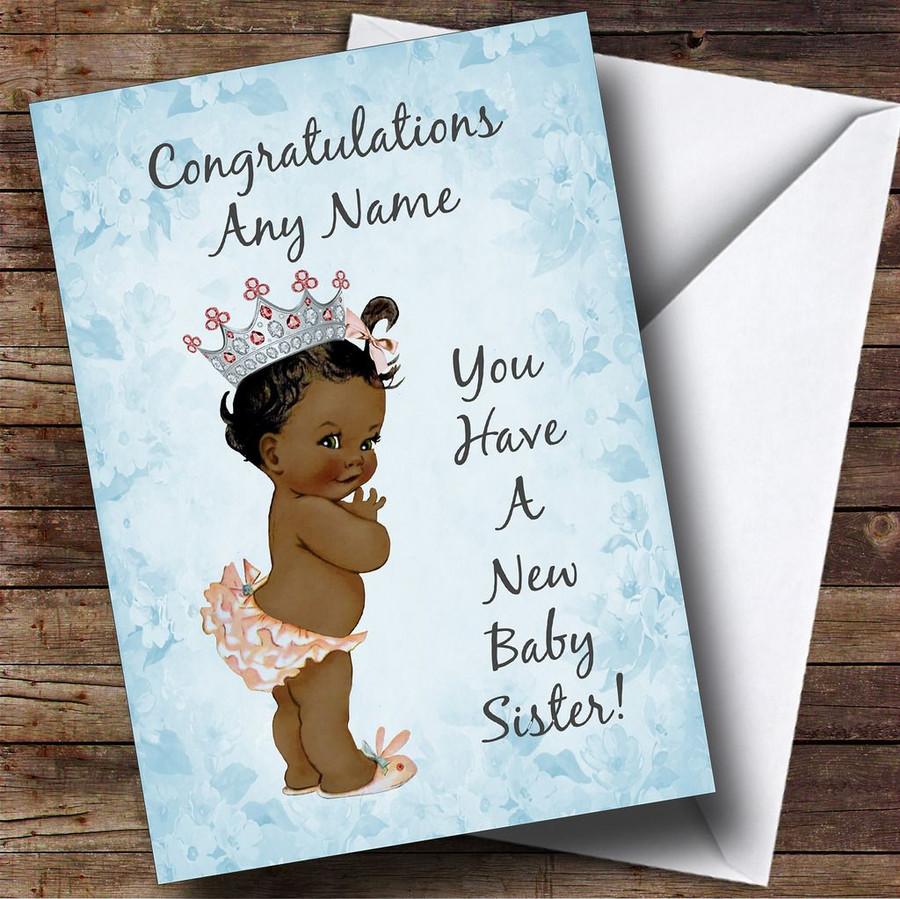 Blue Vintage Baby New Baby Sister Black Girl Customised Sibling Card