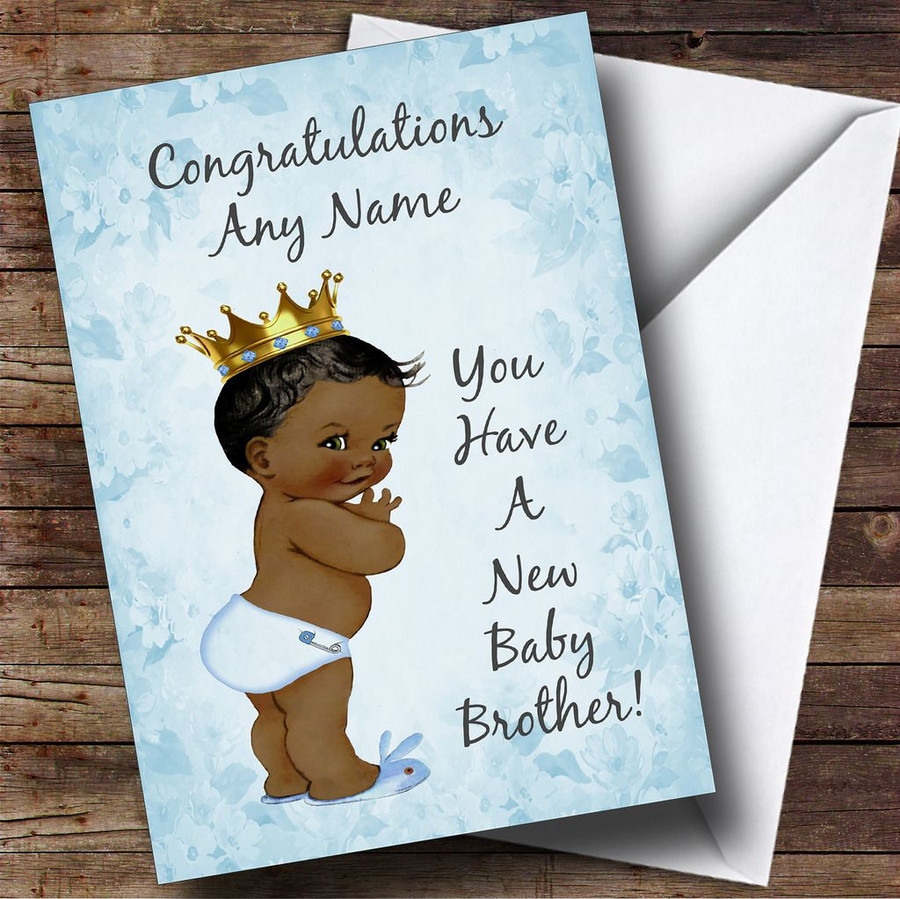 Blue Vintage Baby New Baby Brother Black Boy Customised Sibling Card