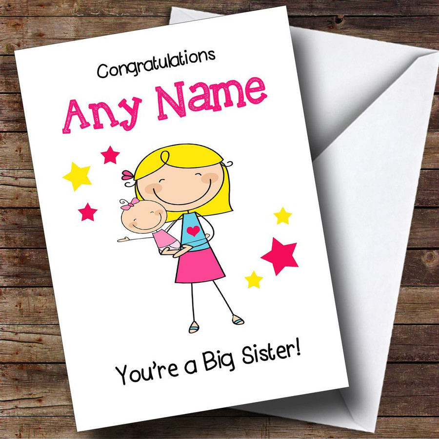 Blonde Big Sister New Baby Congratulations Baby Girl Customised Sibling Card