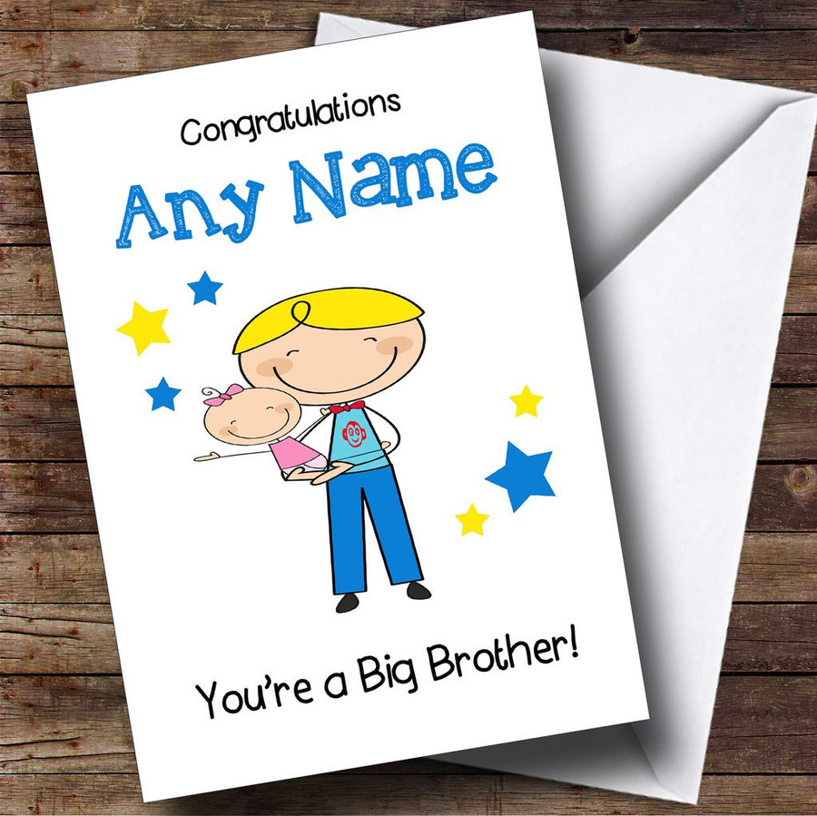 Blonde Big Brother New Baby Sister Girl Customised Sibling Card