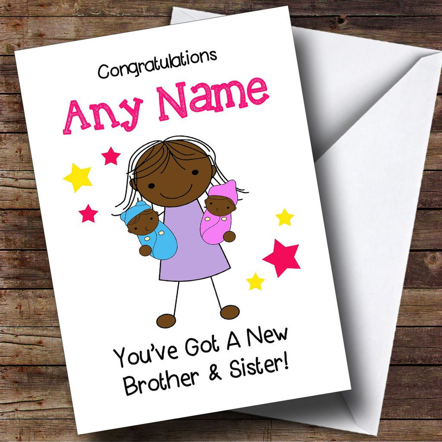 Black Congratulations Twin Boy & Girl Brother & Sister Customised Sibling Card
