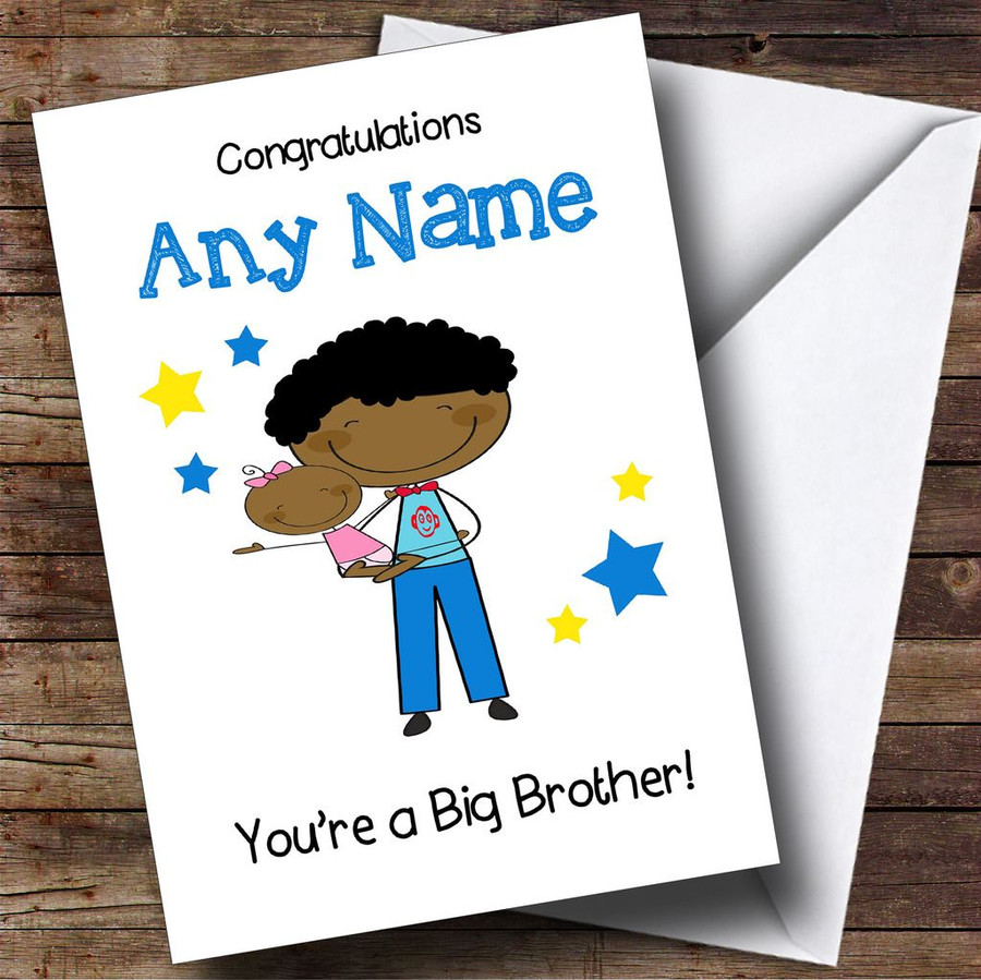 Black Big Brother Congratulations New Baby Sister Girl Customised Sibling Card