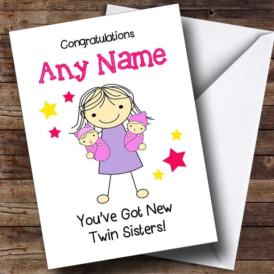 Big Sister Congratulations New Baby Twin Girls Customised Sibling Card