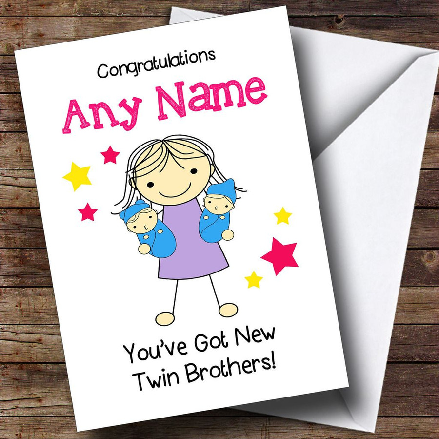 Big Sister Congratulations New Baby Twin Brothers Boys Customised Sibling Card