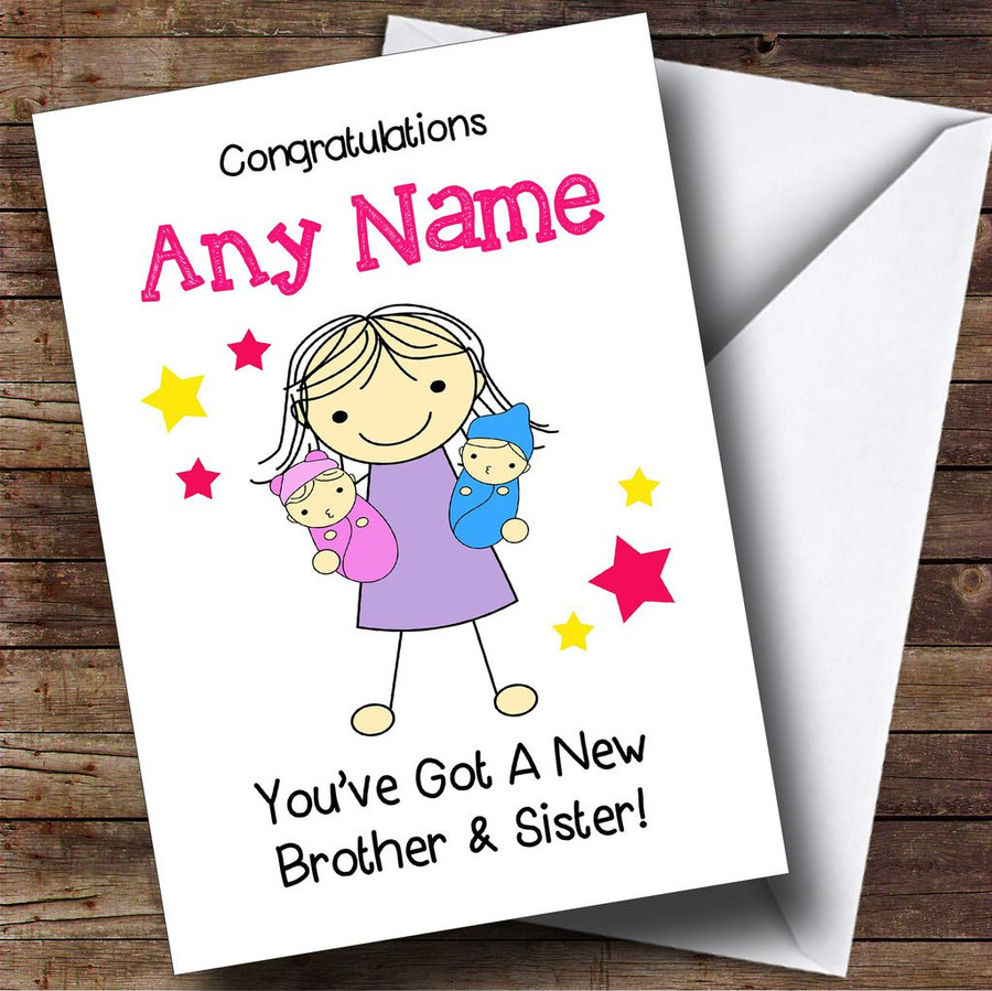 Big Sister New Baby Twin Brother & Sister Customised Sibling Card
