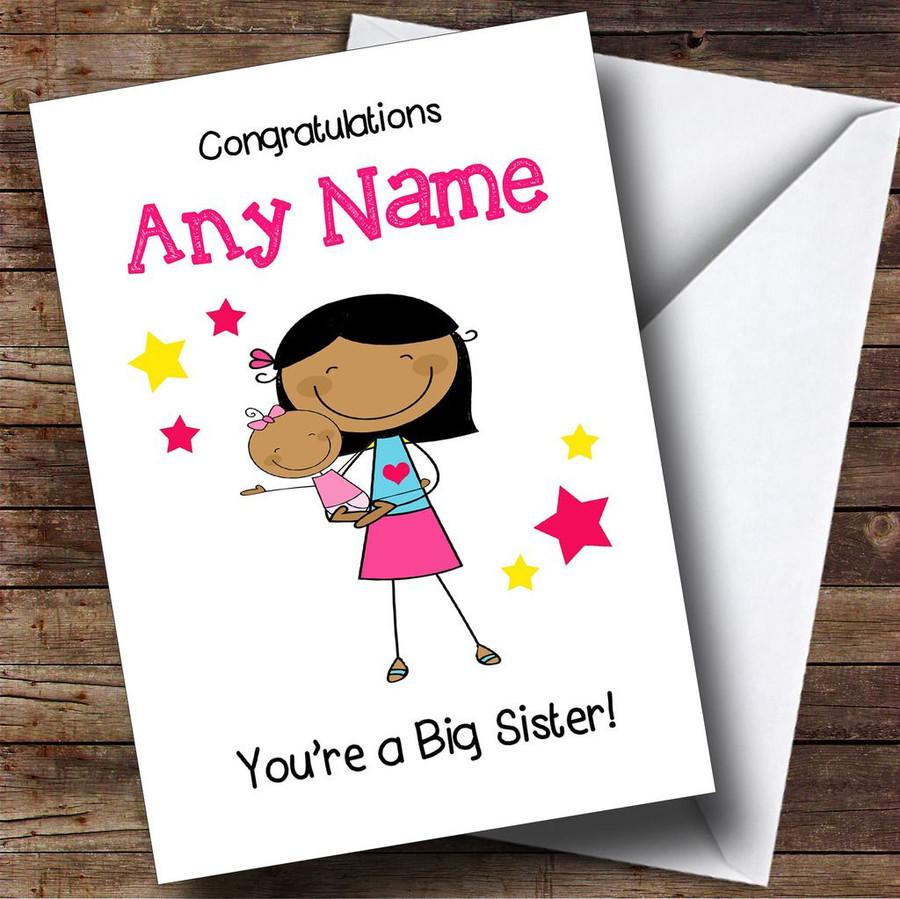 Asian Big Sister New Baby Congratulations Baby Girl Customised Sibling Card