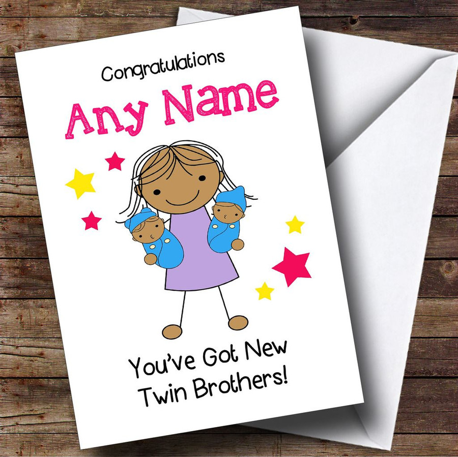 Asian Big Sister New Baby Twin Brothers Boys Customised Sibling Card