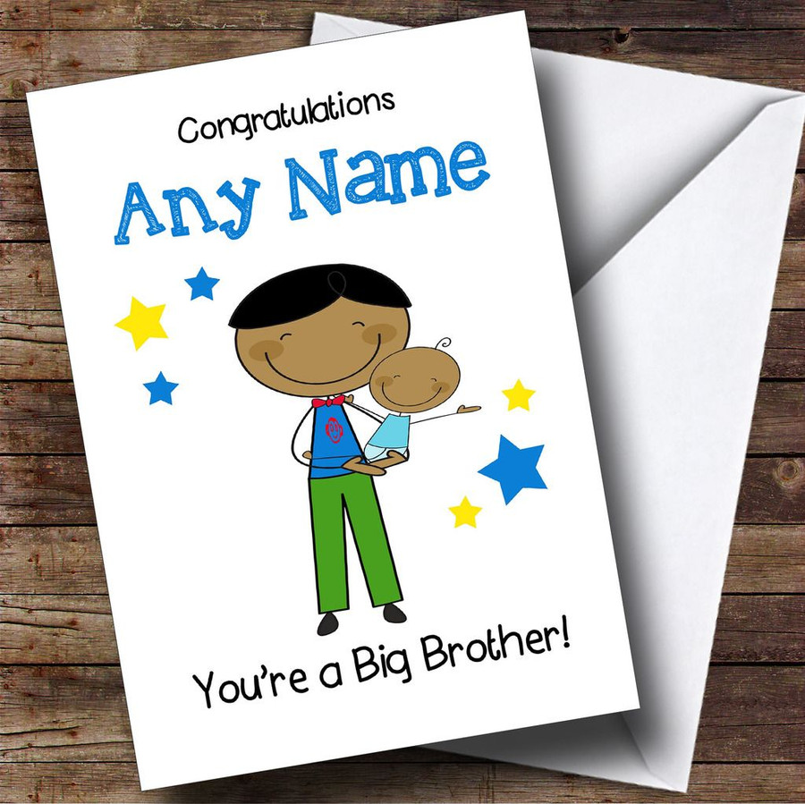 Asian Big Brother Congratulations New Baby Boy Customised Sibling Card