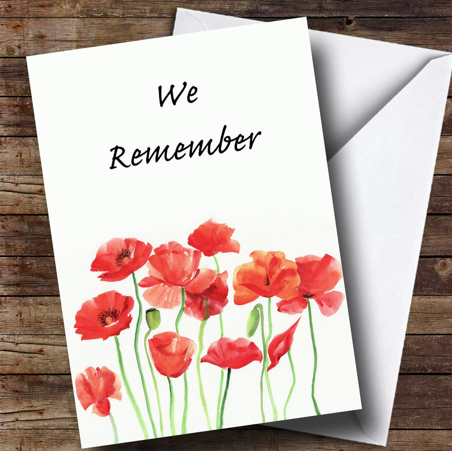 Poppy Flowers Customised Remembrance Day Card