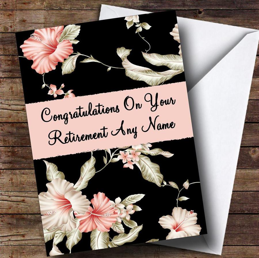 Stunning Black Vintage Floral Customised Retirement Card