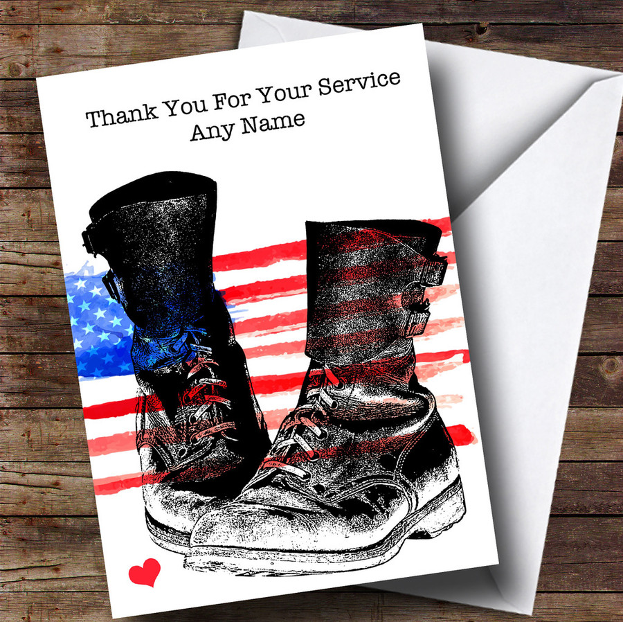 Military Boots & USA Flag Customised Retirement Card