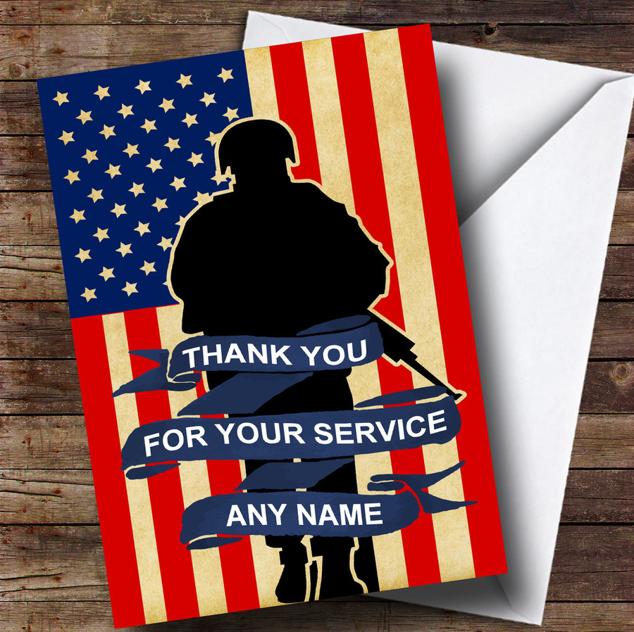 Soldier & American Flag Customised Retirement Card