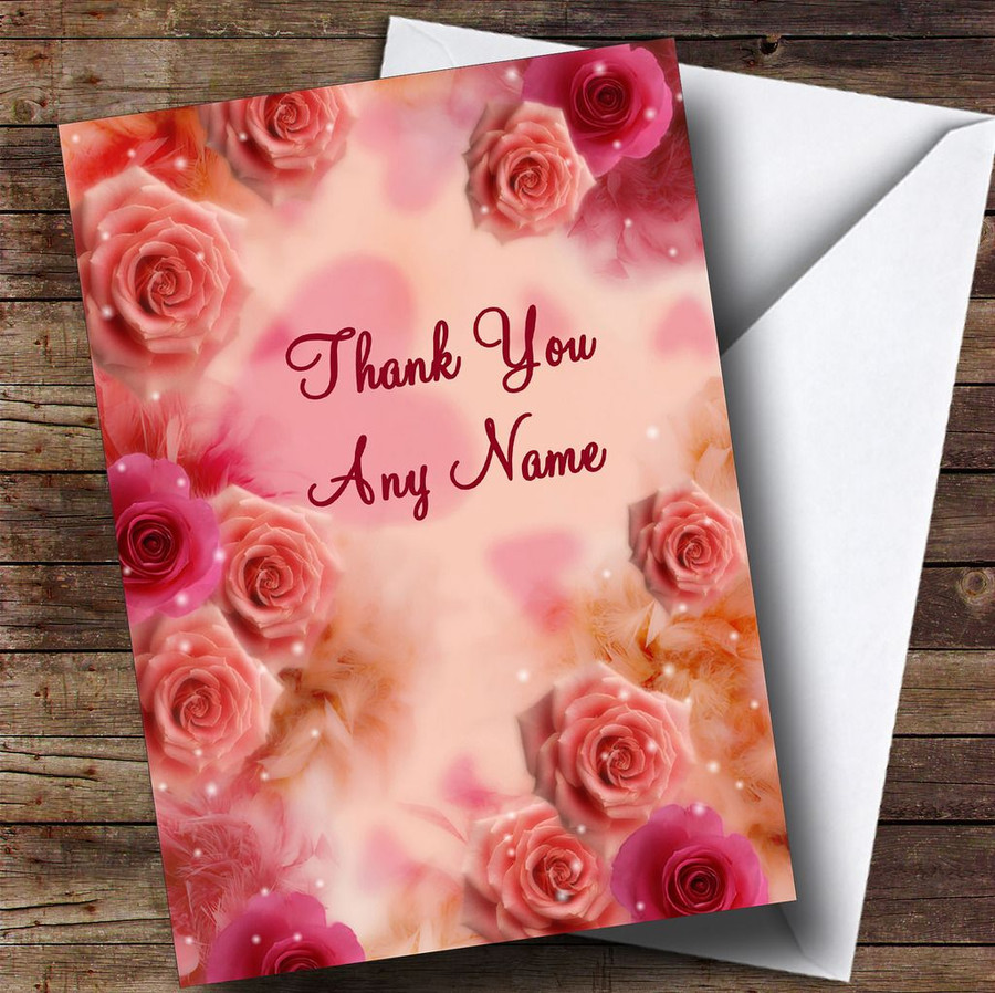 Pretty Pink Flowers Customised Thank You Card
