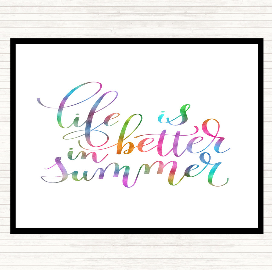 Life Is Better In Summer Rainbow Quote Mouse Mat