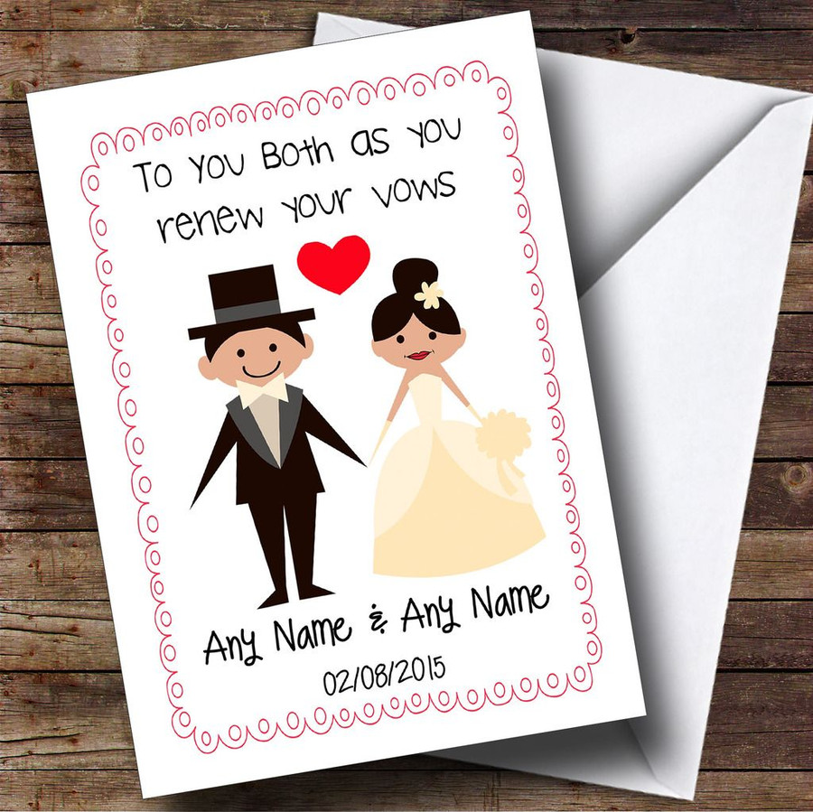 Cute Doodle Frame & Heart Customised Renewal Of Vows Card