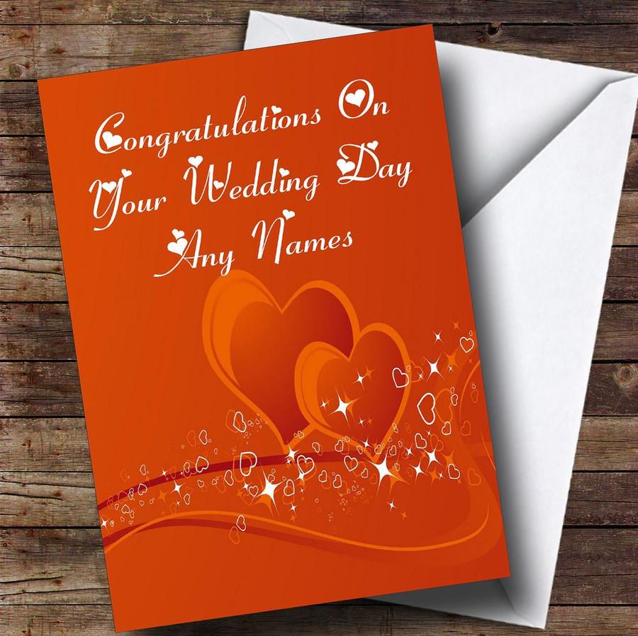 Orange Love Heart Romantic Customised Wedding Day Card